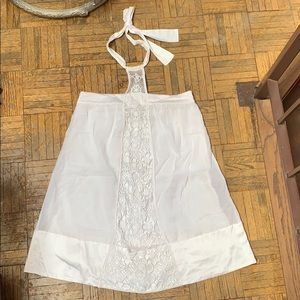 BEBE Silk Cotton White Halter Dress XS